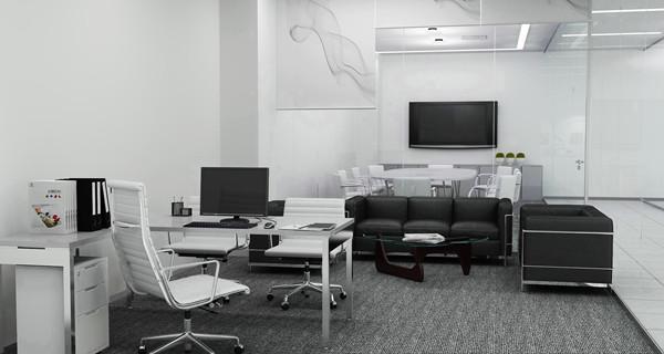 现代办公室效果图1